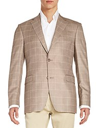 Saks Fifth Avenue Slim Fit Windowpane Silk And Wool Sportcoat Tan Gold