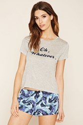 Forever 21 Whatever Feather Graphic Pj Set