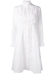 See By Chloe Pie Crust Collar Smocked Shirt Dress Women Cotton 40 White