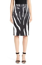 St. John Women's Collection Zebra Print Stretch Satin Skirt