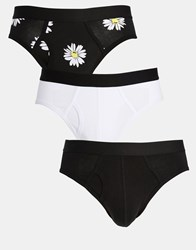 Asos Briefs 3 Pack With Daisy Print Save 20 Multi