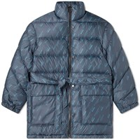 Wooyoungmi All Over Logo Puffer Jacket Blue
