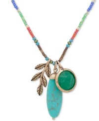 Lonna And Lilly Gold Tone Multicolor Bead Stone Leaf 20 Adjustable Triple Pendant Necklace