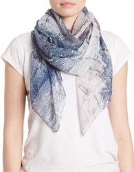 Lord And Taylor Map Print Scarf Blue