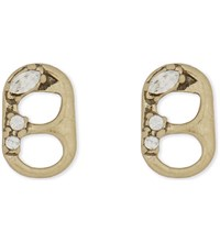 Marc Jacobs Ring Pull Stud Earrings Crystal Antique Gold