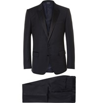 Dolce And Gabbana Blue Slim Cut Silk Trimmed Virgin Wool Blend Tuxedo Navy