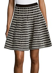 Saks Fifth Avenue Plaid Flared Skirt Black Cream