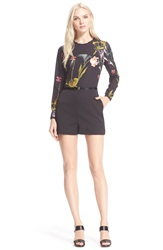 Ted Baker Long Sleeve Floral Print Romper Black
