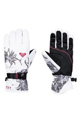 Roxy Jetty Print Snow Sport Gloves Bright White Swell Flowers