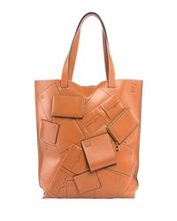 Loewe Vertical Leather Tote Bag With Wallet Appliques Beige