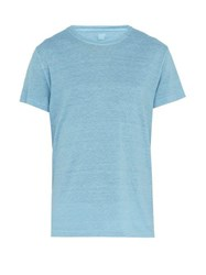 120 Lino Slubbed Linen Jersey T Shirt Light Blue