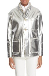 Julien David Women's Genuine Foiled Shearling Jacket