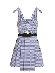 Self Portrait Tie Shoulder Striped Mini Dress Blue
