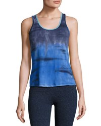 The Balance Collection Ladder Strap Tie Dye Tank Top Blue Pattern