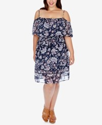 Lucky Brand Trendy Plus Size Off The Shoulder Peasant Dress Navy Multi