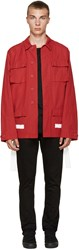 Off White Red Brushed Diagonals Sahariana Jacket