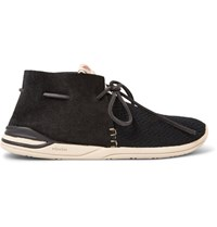 Visvim Huron Leather Trimmed Mesh And Suede Sneakers Black