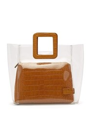 Staud Shirley Crocodile Effect Leather And Pvc Tote Tan