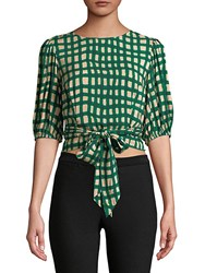 Plenty By Tracy Reese Checkered Wrap Blouse Palm