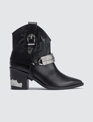 Toga Pulla Western Harness Leather Boots Black
