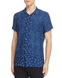 Scotch And Soda Paisley Short Sleeve Slim Fit Button Down Shirt Navy