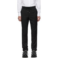 Lanvin Black Grosgrain Belt Slim Fit Trousers