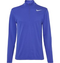 Nike Golf Mesh Panelled Knitted Dri Fit Half Zip Top Royal Blue