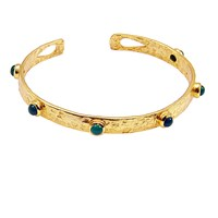 Azuni London Selene Studded Bangle In Gold And Green Onyx