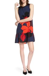 Halogen Ruffle Hem Shift Dress Navy Red Floral