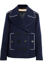 Burberry Brit Double Breasted Wool Blend Coat Navy