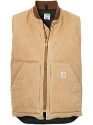 Fake Alpha Vintage Zipped Gilet Jacket Brown