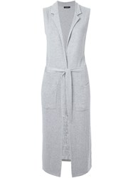 Loveless Long Sleeveless Cardigan Grey