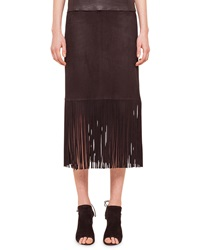 Akris Punto Long Fringe Trimmed Suede Pencil Skirt