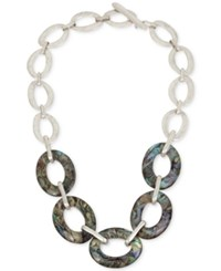 Robert Lee Morris Soho Silver Tone And Abalone Large Link Necklace