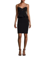 Parker Sachi Lace Up Combo Peplum Dress Black
