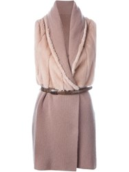 Liska Paneled Knitted Vest Pink And Purple