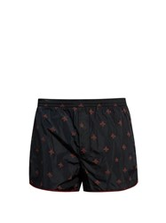 Gucci Bee Print Nylon Swim Shorts Navy Multi