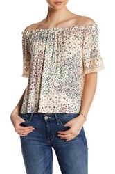 Hip Pleated Off The Shoulder Blouse White