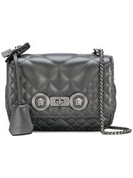 Versace Small Quilted Icon Crossbody Bag Grey