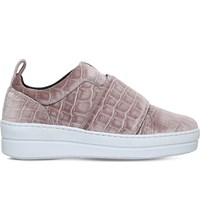 Kurt Geiger Labelle Crocodile Embossed Trainers Pale Pink