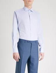 Smyth And Gibson Woven Texture Tailored Fit Cotton Shirt Light Blue