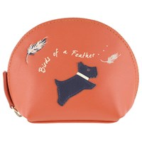 Radley Birds Of A Feather Leather Coin Purse Mandarin
