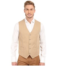 Perry Ellis Solid Slub Linen Cotton Suit Vest Pale Khaki Men's Vest Brown