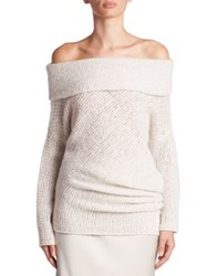 Calvin Klein Doodle Off The Shoulder Cashmere And Silk Tunic Silk Grey