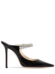 Jimmy Choo 100Mm Bing Crystals Patent Leather Mules Black
