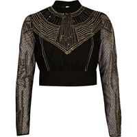 River Island Womens Gold Embellished Crop Top