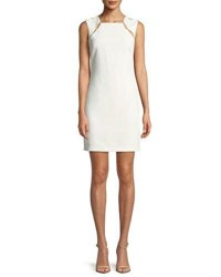 Alice Olivia Kristiana Fitted Cocktail Sheath Dress W Inserts Off White