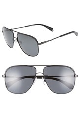 Polaroid 59Mm Polarized Aviator Sunglasses Matte Black