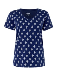 Linea Leaf Print V Neck Top Navy