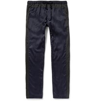 Dries Van Noten Piers Slim Fit Satin And Cotton Canvas Trousers Blue